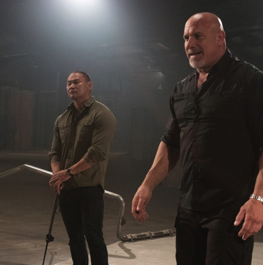 Bill Goldberg and Tu Lam on set, finding a moment of Zen
