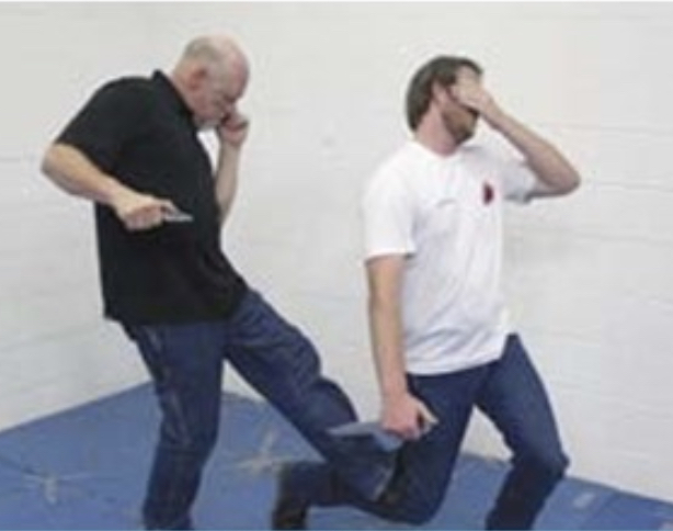 Neck knife combined with defense kicks