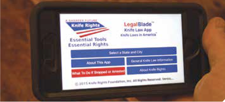 Knife Rights' app screen