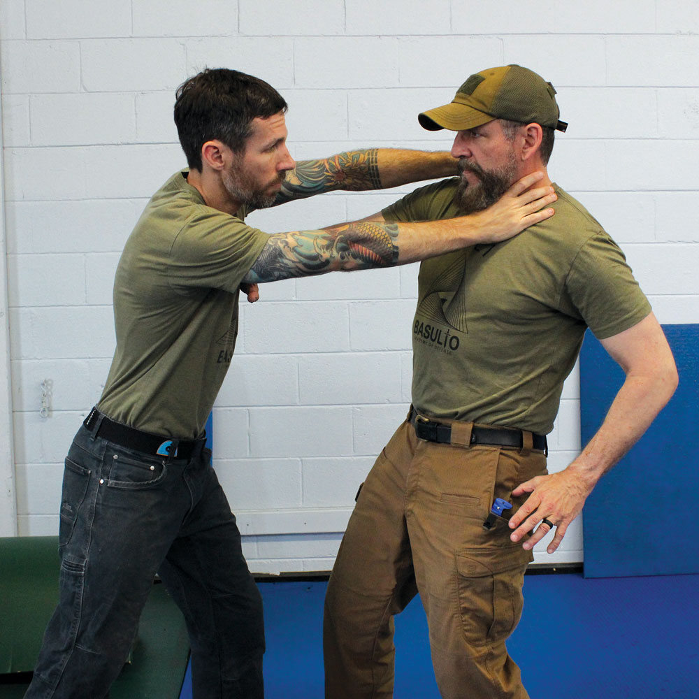 In a close-quarters defensive scenario, the Northman can be quickly deployed one-handed from the pants pocket