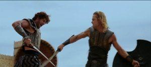 Blade fighting scene in Troy