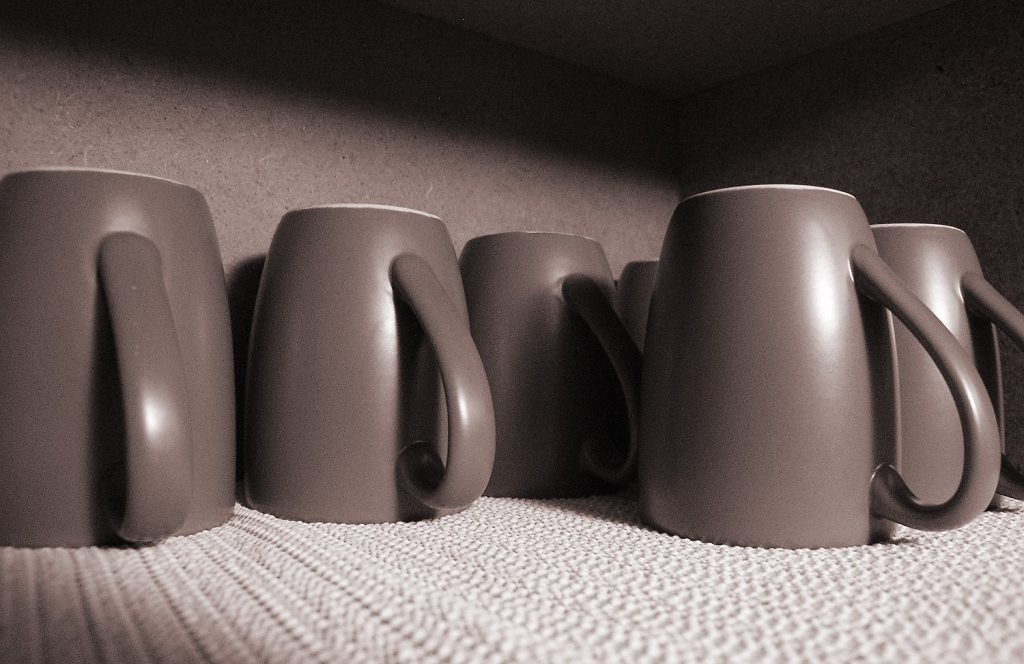 mugs on shelf