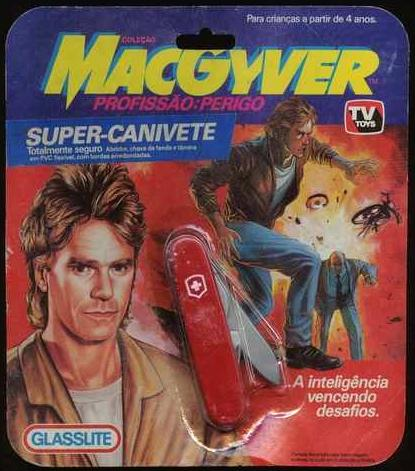 MacGyver and his mullet on a Swiss army knife package