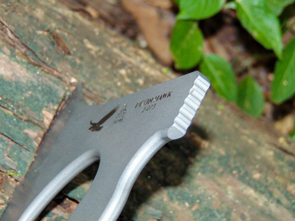 The hammer end of the Tops Knives Hawk