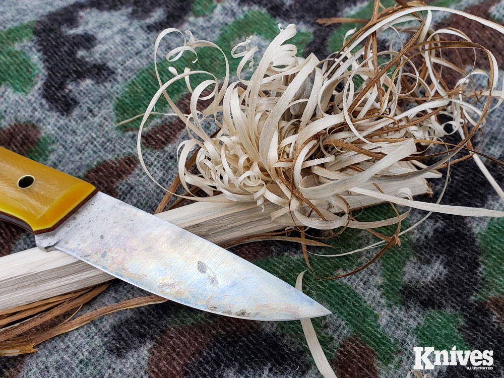 The Layman knife feathers wood easily