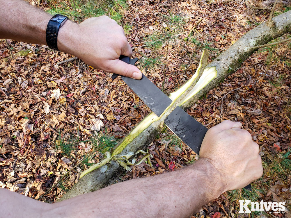 The blade size and shape of the Chop House made it well suited for use as a draw knife.