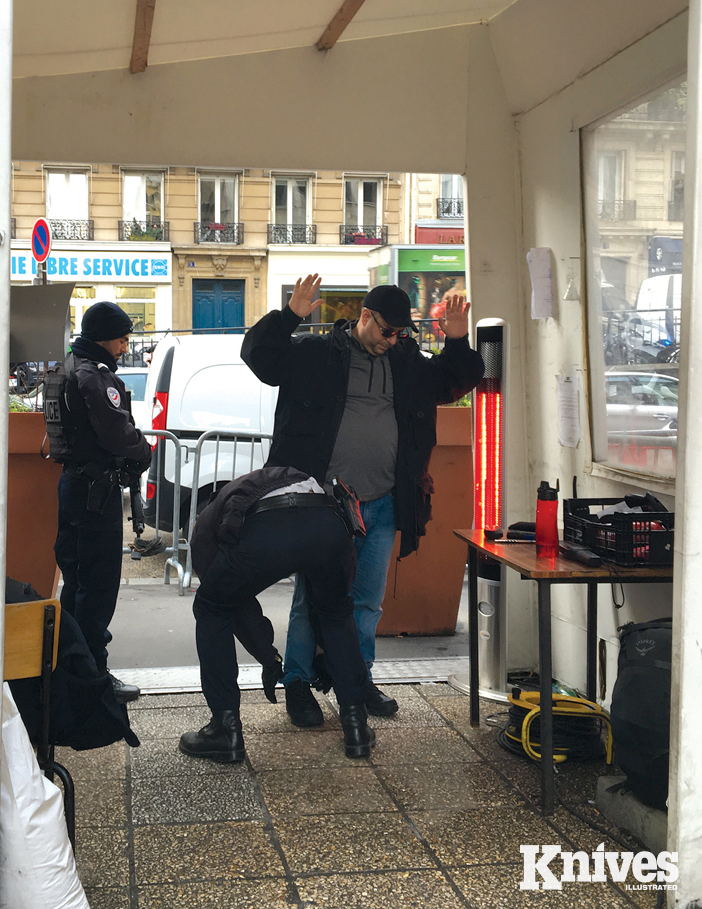 MBC Certified Instructor Marc Galli is being searched on the way into the Paris Police Museum.