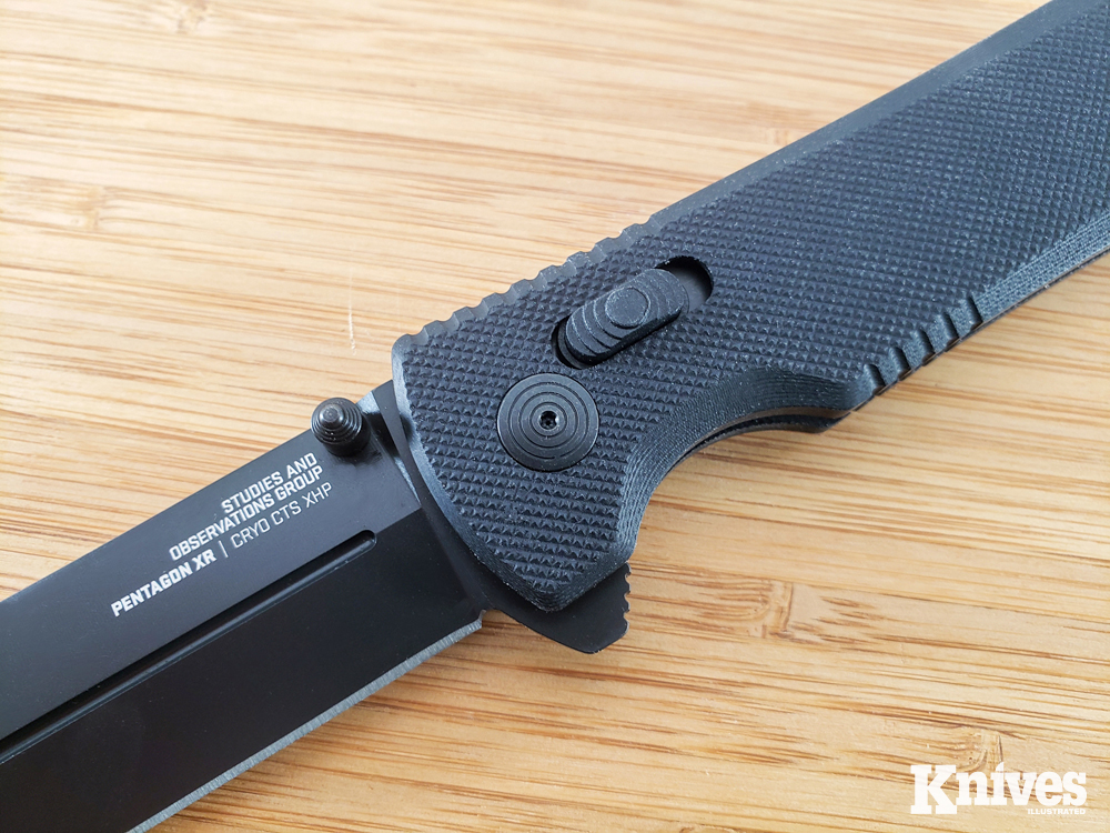 SOG's XR lock is ambidextrous and can withstand 1,500 pounds of pressure.