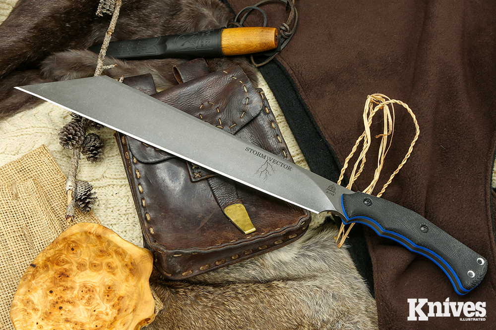 The TOPS Knives Storm Vector is a seax-style knife