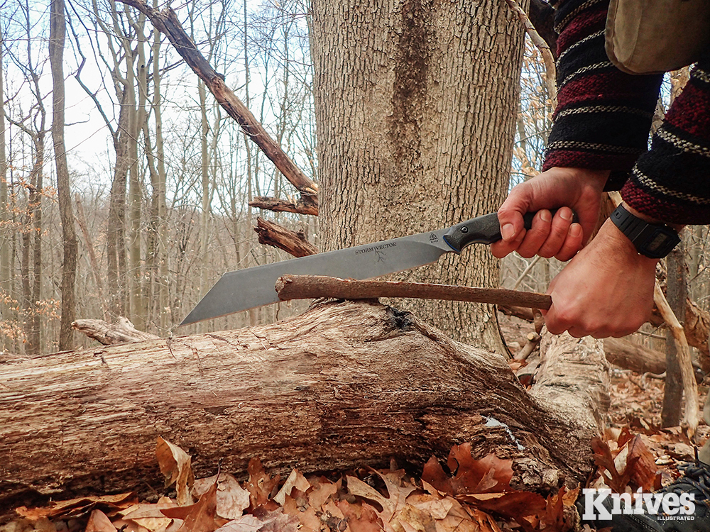It is possible to split kindling with the TOPS Storm Vector in the same way one would use a hatchet.