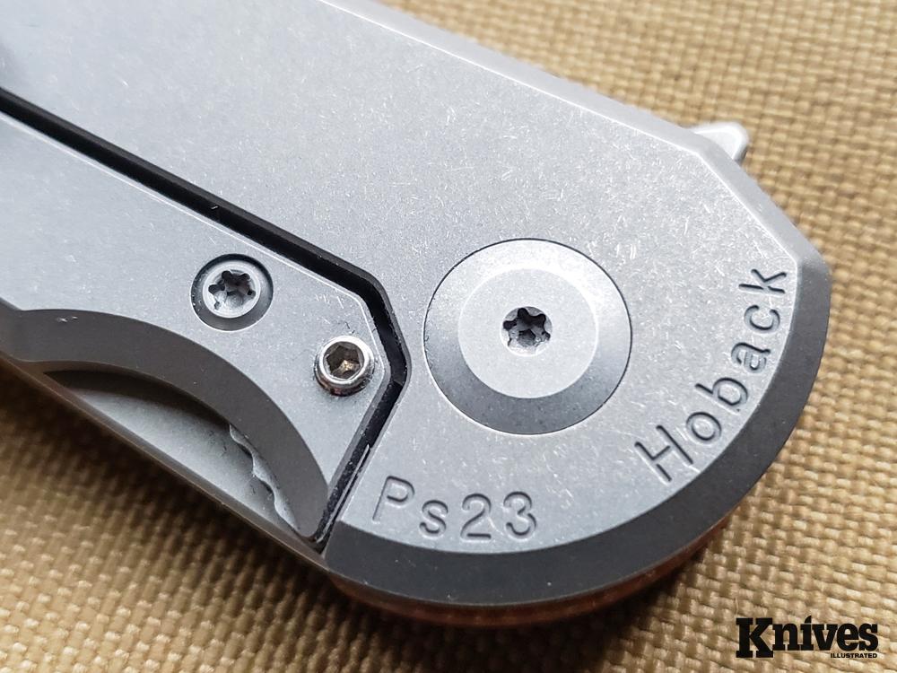 Closeup detail of the Hoback Radford pivot pin and Hoback Roller Detent.