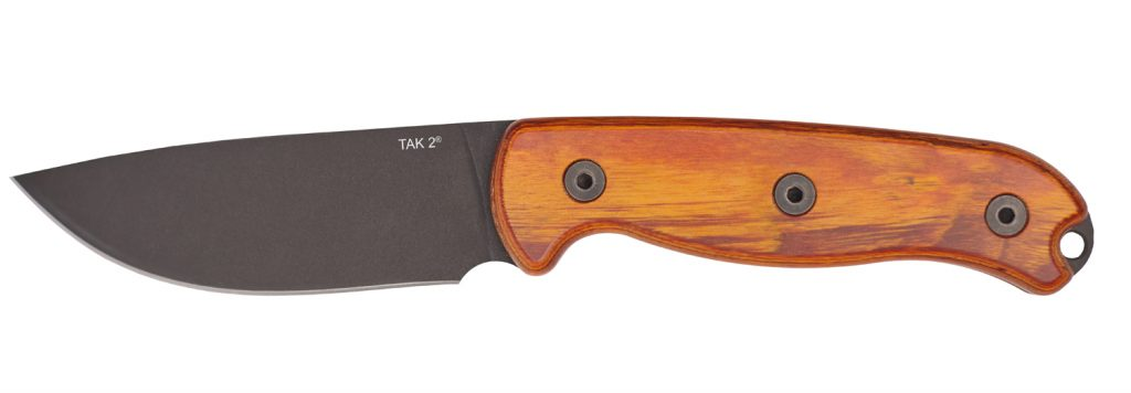 The TAK 2 has a stabilized hardwood handle and a phosphate-coated carbon steel blade.