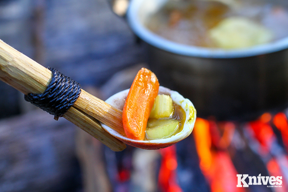 A beach-camp crafted spoon can be as easy as finding a shell and splitting a stick.