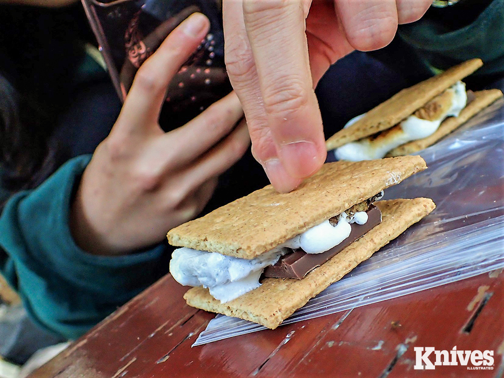 A camp classic is the marriage of chocolate, marshmallows, and a graham cracker— S'mores.