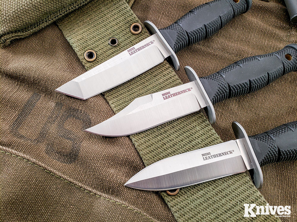 Mini Leatherneck comes in a choice of three blade styles: clip point, tanto, or double-edged.