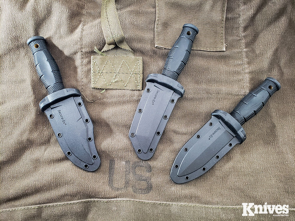 All of the Mini series knives come with a sturdy Secure-Ex sheath that can be used with a beaded chain or a Cold Steel C-Clip.