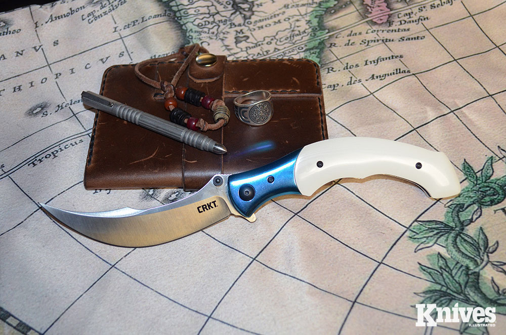 The CRKT Ritual is a rather big knife with a sweeping 4.37-inch blade.