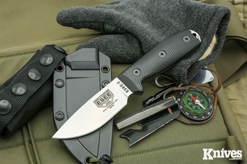 ESEE-3 S35VN featuring highly textured 3D G10 scales.