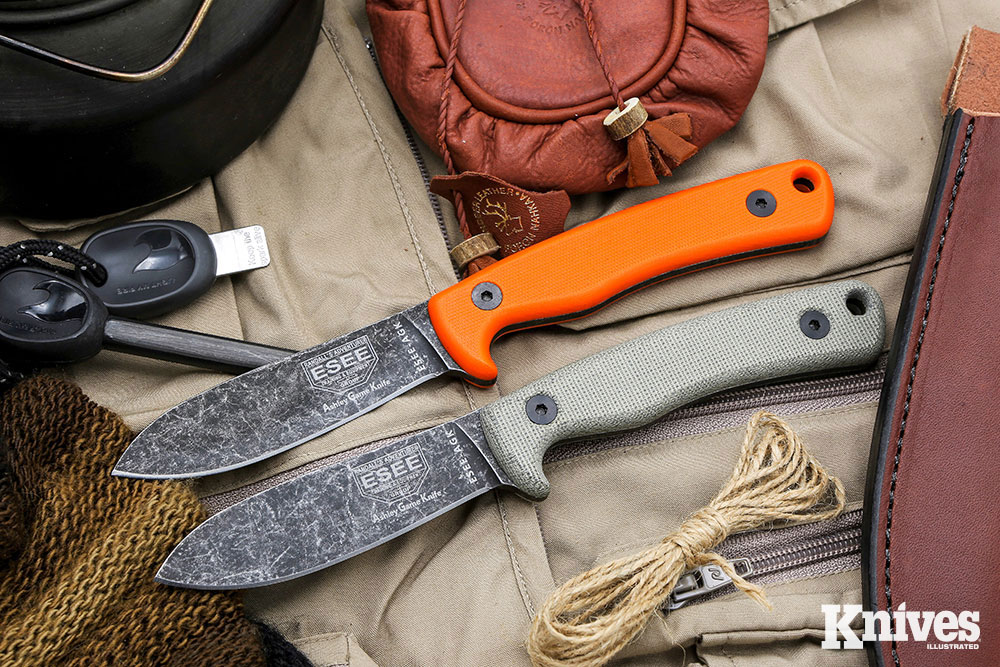 ESEE Knives Ashley Game Knife comes in your choice of orange G10 scales (top) or canvas Micarta (bottom) and an attractive black oxide finish.