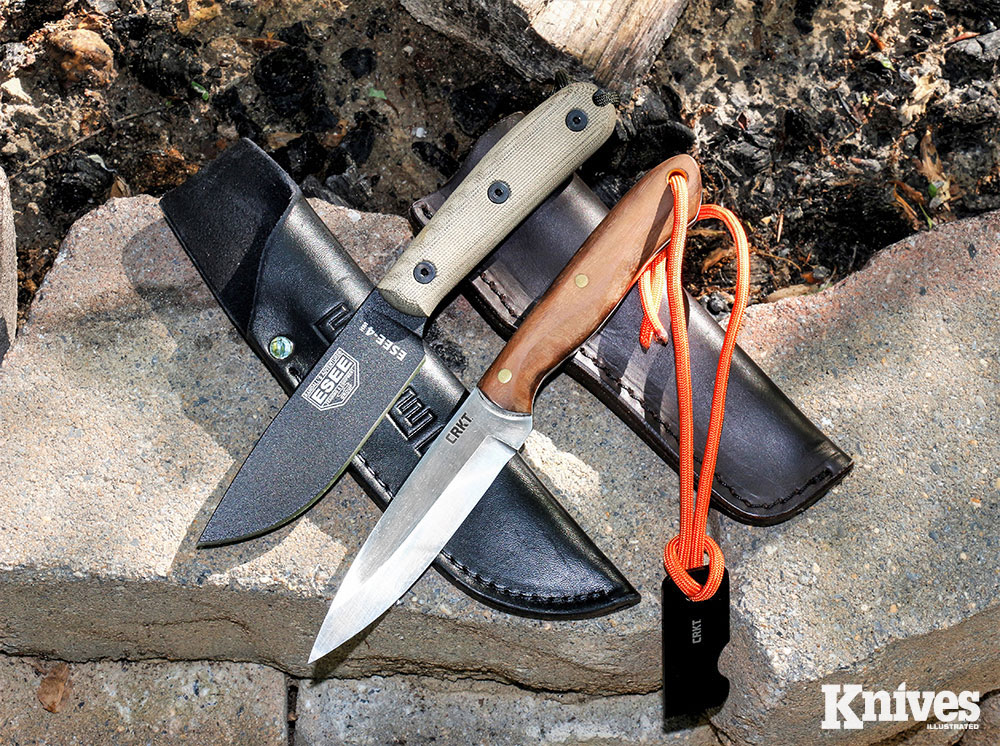ESEE-4 HM (top) and CRKT Saker, could be used to field-dress big game animals.