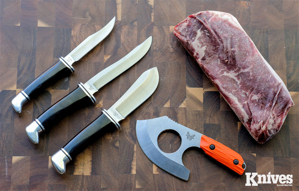 Shown (from the left) are the Buck Woodsman, Pathfinder and Skinner, and<br /> the Benchmade Nestucca. And yes, that's beef, not venison in the photo.