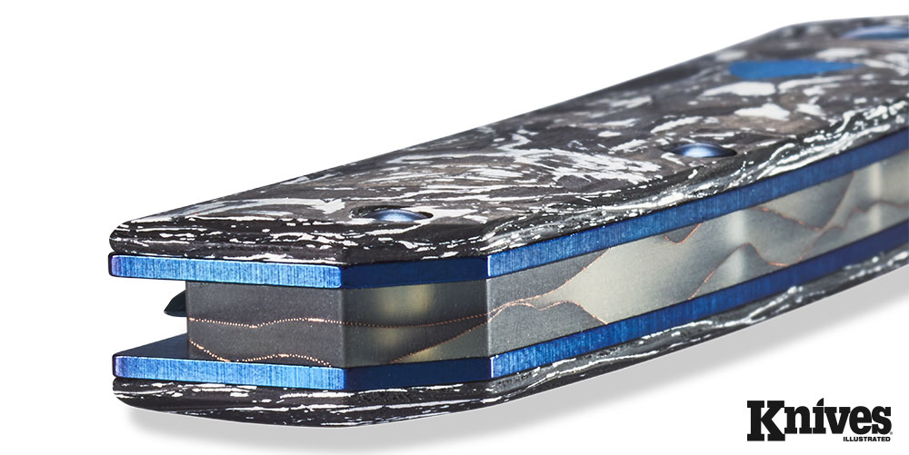 The blue G10 inlay illustrates the fine details that this knife represents, making it truly in a class above most others.