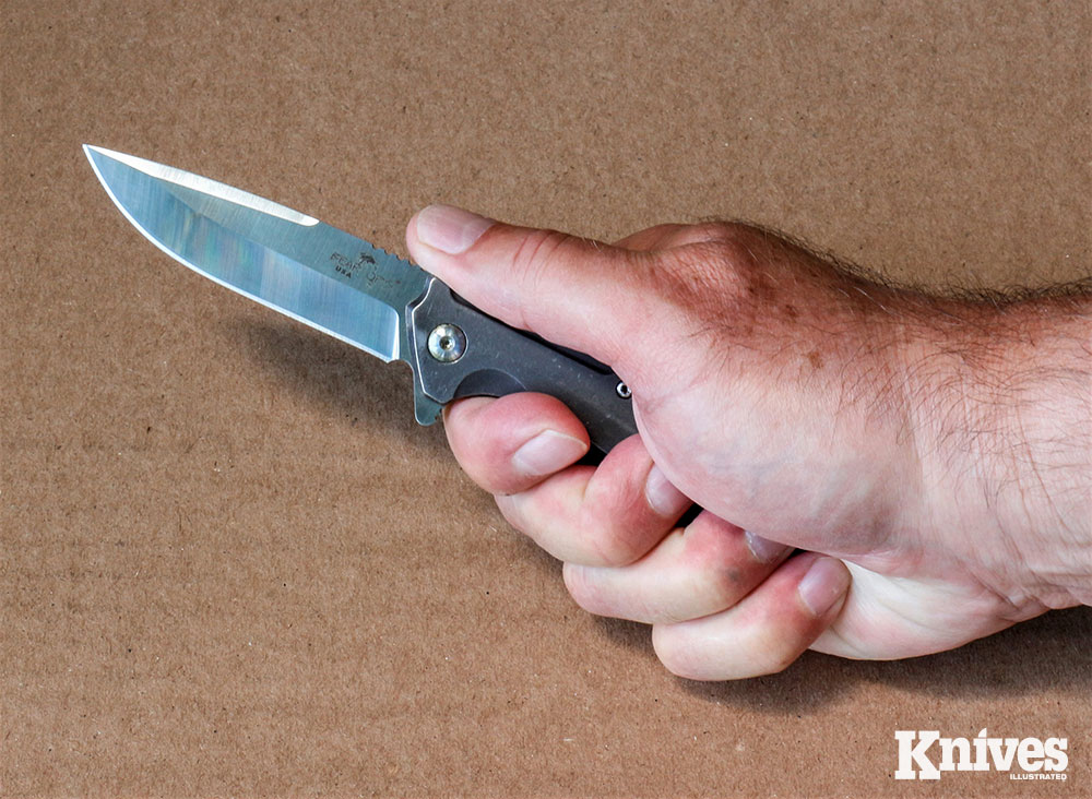 The knife fits the average-sized hand well and it's comfortable to use, even when added pressure is needed when cutting tough materials.