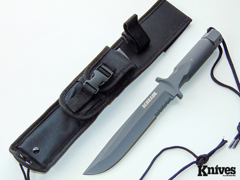 The Schrade Large Extreme Survival is a one-piece drop-forged, spear-point fixed-blade knife with a secret: Its hollow handle holds more tools. Author photo.
