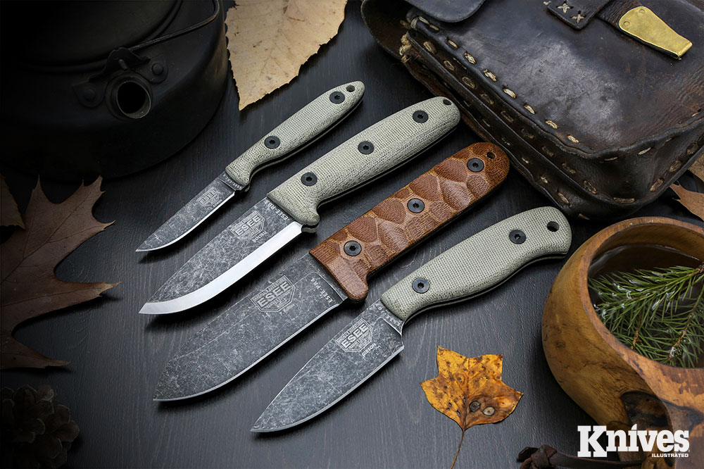 The Camp-Lore fixed blades—(top to bottom) CR2.5, RB3, PR4, and JG3—are all bushcraft worthy and made in the USA.