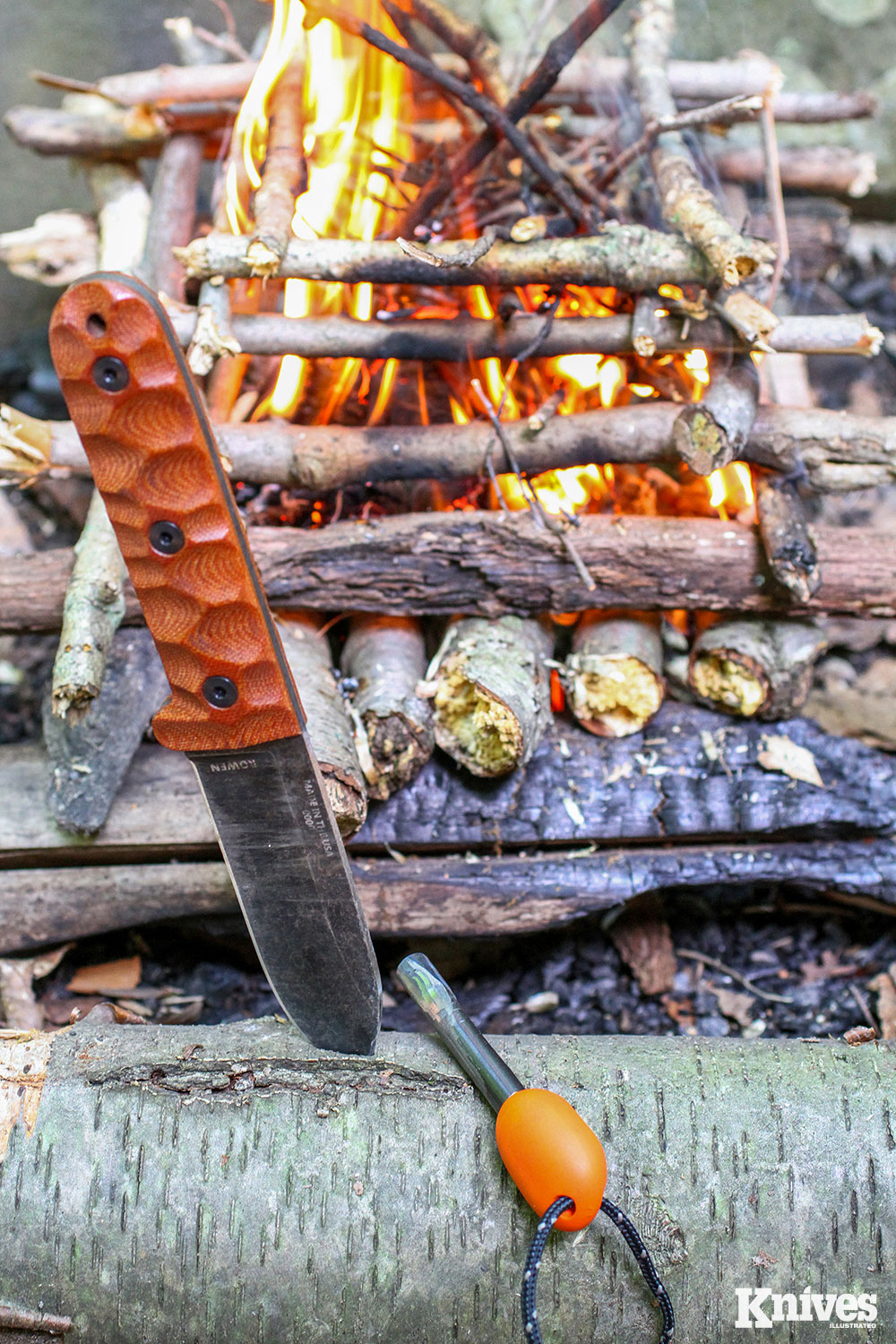 Log-cabin-style fires were made by the author with the PR4 and folding saw doing all the preparation in wet weather.