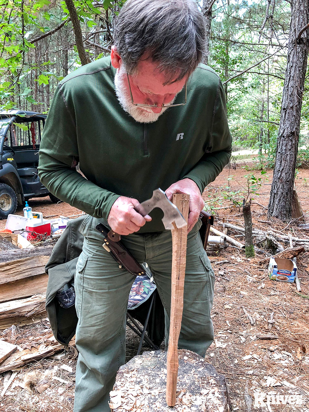 James Gibson is a Journeyman knifemaker specializing in custom knives in many different styles from traditional Bowie, Scandi-styles, to bushcraft, along with Asian-inspired choppers.