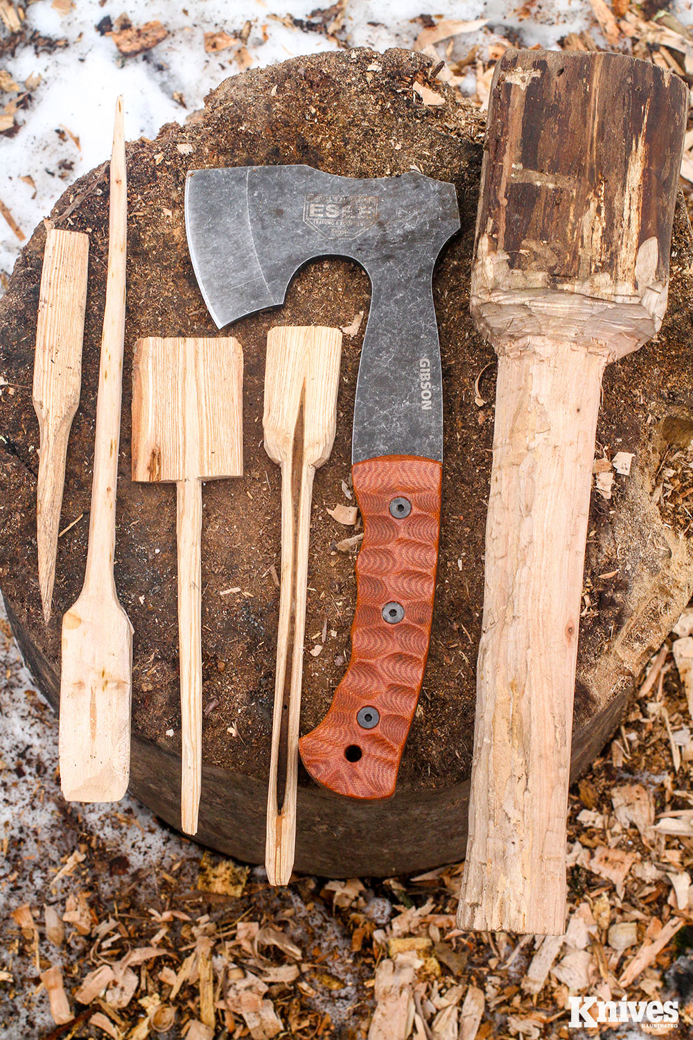 The completed tools the author made with the Gibson Carving Axe overnight on his winter camp trip. Many are still in use today.
