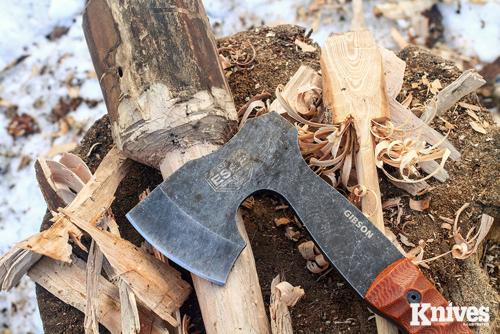 Gibson Work—A mallet and spatula in the works by the hands of the author and the Gibson Carving Axe.