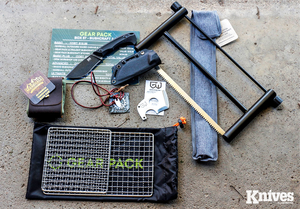 Although knives are among what the author anticipates the most, Gear Pack boxes consistently contain lots of other great gear. Shown are the contents of Gear Pack Box 57—Bushcraft.