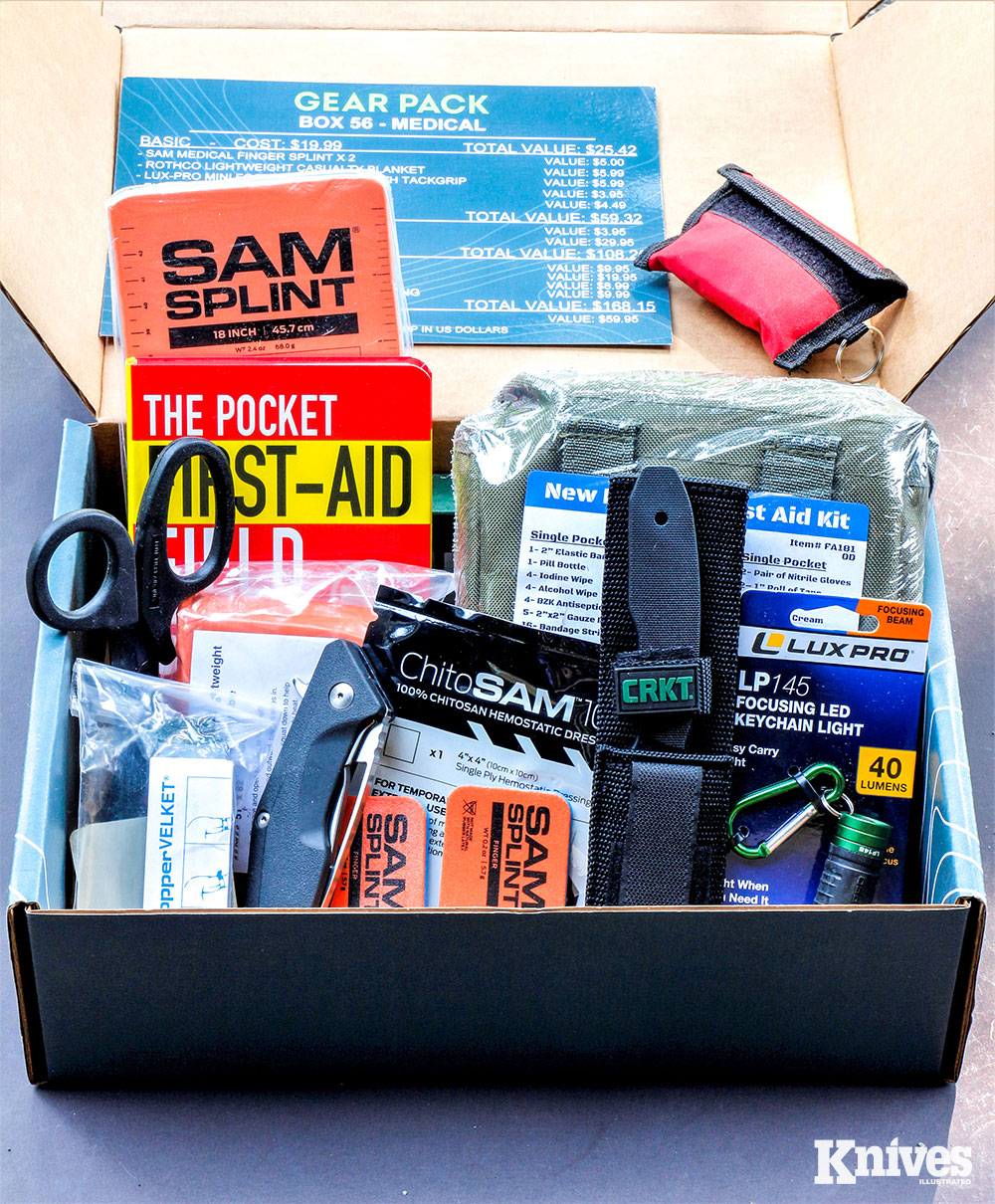 Over time, a Gear Pack subscriber can acquire lots of useful gear by receiving a box once a month. The contents of Box 56—Medical contains many useful first-aid products.
