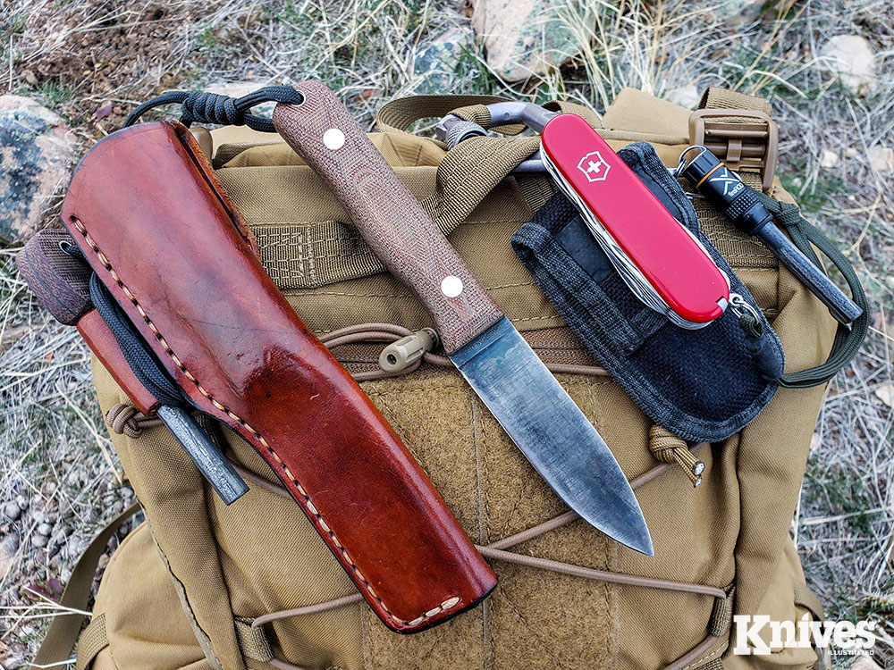 Kevin Estela's favored fixed blade is his own design, the Polaris (L), made by Gossman Knives. He also carries the Ranger model Swiss Army Knife.