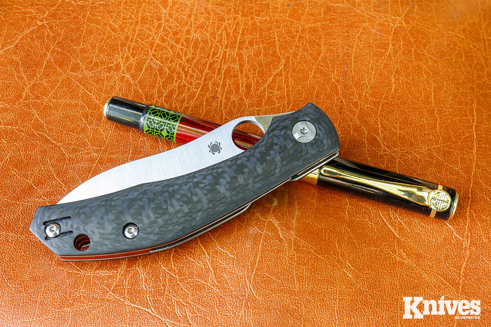 The author found the handle configuration of the Kapara to be extremely ergonomic. The handle scales are carbon fiber to keep things light. Closed, the folder measures 4.69 inches. Yet it weighs just 3.3 ounces, making this mid-sized knife a joy to carry.