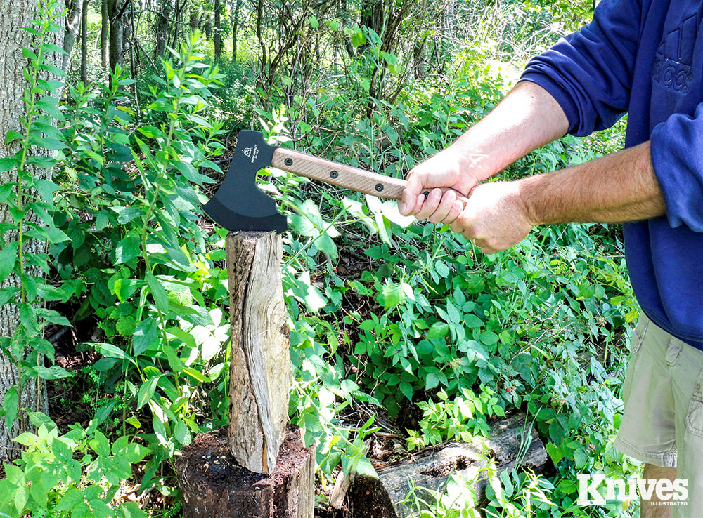 The High Impact proved to be a good chopper and had no trouble splitting firewood. The handle is just long enough to take a two-handed grip.