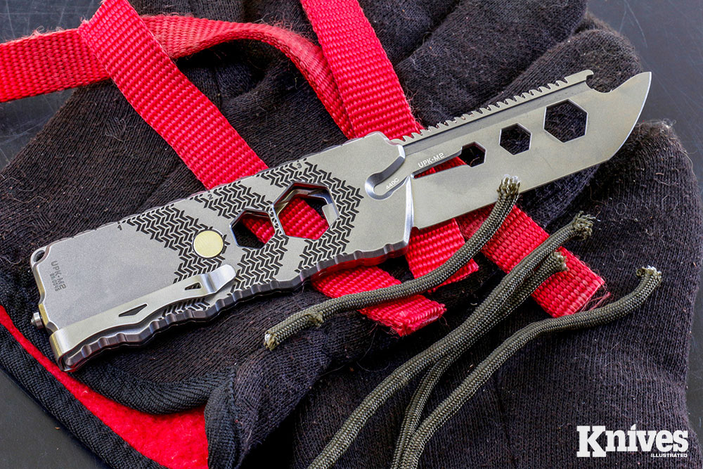 The UpKnife UPK-M2 is an updated version of a clever multitool with lots of utility and a flat profile for your pocket. With the blade fully open, it is long enough to handle most any task.