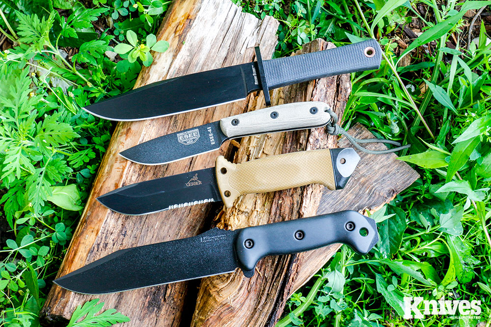 Knives suited for survival use can come in all shapes and sizes. Shown (from top) are: Cold Steel Recon Scout, ESEE-4HM, Gerber LMF II ASEK, and Becker Knife &Tool Combat Utility (BK7). S.P. Barlow photo.
