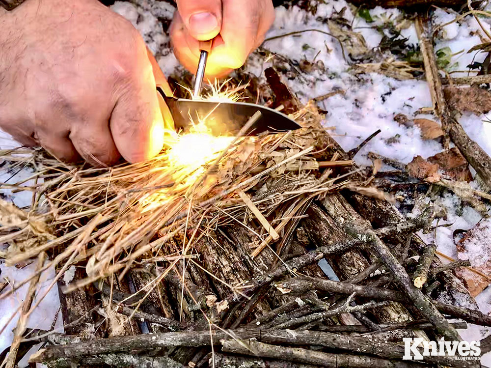 Using a knife to strike sparks with a ferro rod is just one way a knife can help you to make fire.